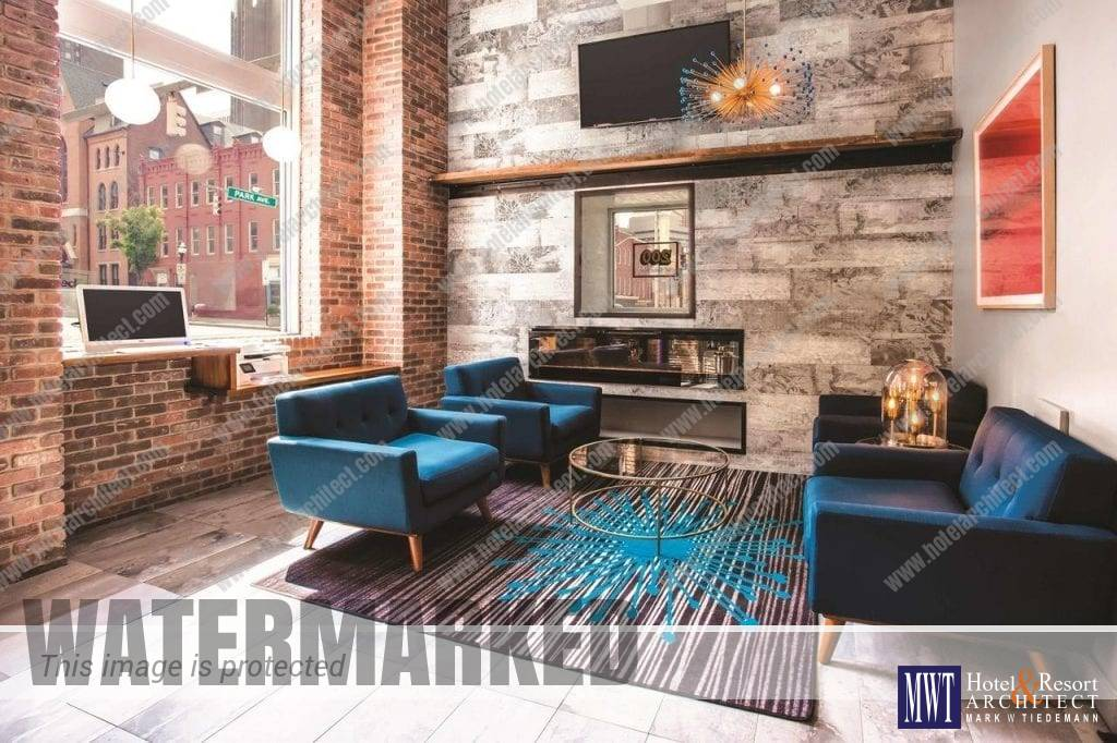 La Quinta Lobby in Baltimore by MWT Hotel & Resort Architect